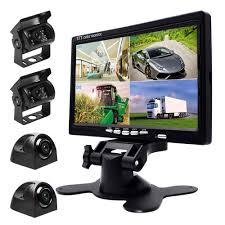 4 X Car Rear View Front Side Reversing Cameras 7 Quad Split Monitor For RV Bus