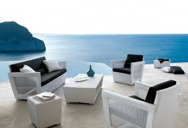 Wonderful Landscape Around From Modern Patio Furniture On Amusing Floor Pattern And Simple Cushions
