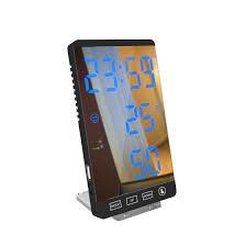 led digitaler wecker spiegel schlafzimmer wecker mit zeit temperatur luftfeuchtigkeit