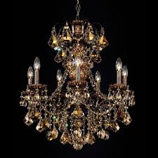 Swarovski Crystal Lamp Finials by Schonbek New Orleans 7 Light Chandelier Shown In Heirloom Bronze