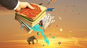 Mans Hand Holding Magic Book With Falling Letters Animals And Other Objects