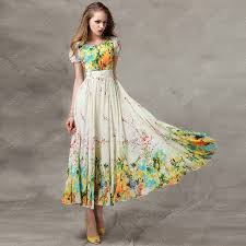 dresswe vintage summer floral printing short sleeves maxi dress