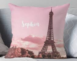Personalised Paris Pillow Eiffel Tower Monogrammed Bedroom Decor French