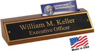 Deluxe Desk Nameplate with Card Holder Brass Plate