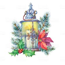 Banner With A Christmas Tree Holly Poinsettia Lantern Decoration