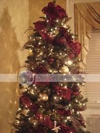 Maroon And Gold Christmas Tree Decorations With Paper Cranes