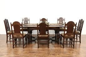 English Tudor 1920 Antique Oak Dining Set Table 6 Chairs New Upholstery