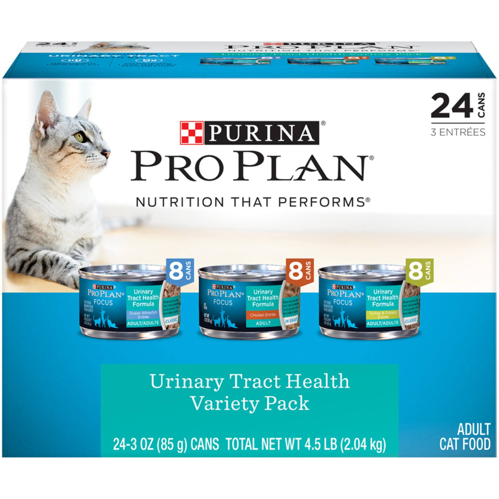 Purina Pro Plan Focus Classic Urinary Tract Health Formula Adult Wet Cat Food Variety Pack, 3 oz.