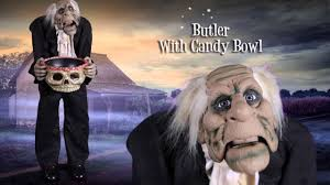 Motion Activated Halloween Decorations Uk by Animated Butler With A Candy Bowl 2014 Halloween Decor Youtube