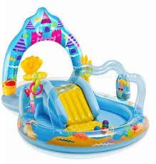 Intex Mermaid Kingdom Play Center Kids Inflatable Pool Sprayer Slide 57139