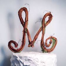 Letter M Rustic Twig Wedding Cake Topper
