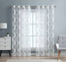 White Sheer Voile Curtains by Amazon Com Hlc Me Adel Damask Burnout Window Sheer Voile Curtain