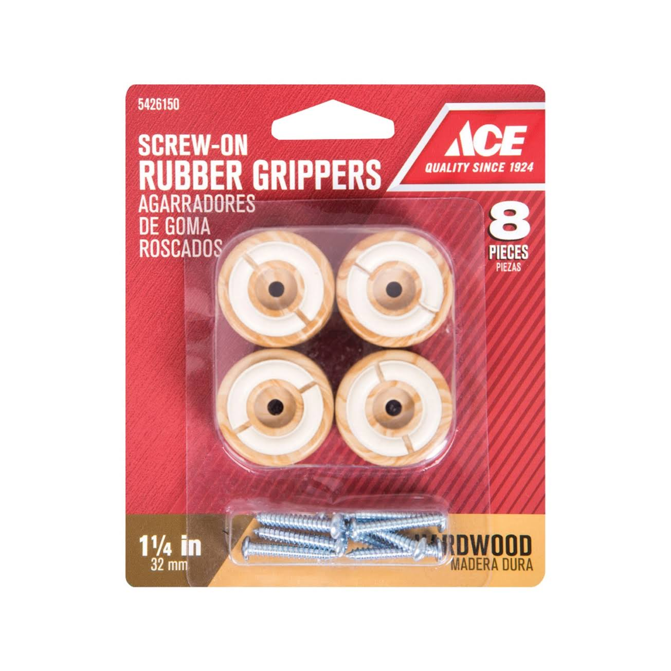 Ace Rubber Round Non-Slip Cup for Hardwood Floors Brown 1-1/4 in. W 8