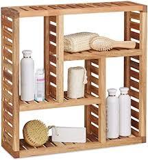 relaxdays wandregal walnuss mit 5 fächern für badezimmer flur und wohnzimmer stauraum hxbxt 50 x 50 x 15 cm natur