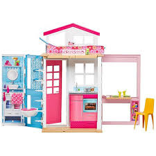 GYMAX Large Kids Doll House Wooden Pink 3 Floors W Ladder