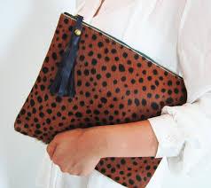 leopard print calf hair zipper pouch leather clutch idealpin
