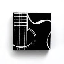 6 X Acoustic Guitar Music Canvas Black W White Screenprint Painting