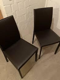 2 hochwertige leder stühle küche esszimmer schreibtisch schwarz