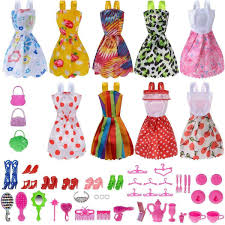 Buy 80pcs Barbie Doll Clothes Dresses Gown Outfits Accessories Gift