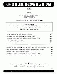 The Breslin Bar Menu by J Spot
