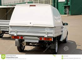 The White Car Truck With The Tailgate Open Stock Photo - Image Of ...