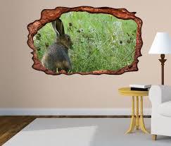 3d wandtattoo wilder hase kaninchen grünes feld selbstklebend wandbild wohnzimmer wand aufkleber 11l2365 3dwandtattoo24 de