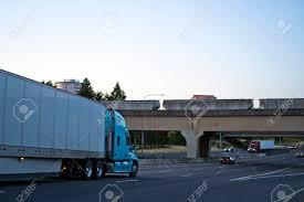 100 Trans America Trucking Big Rig Bonnet Professional Blue Semi Truck With Dry Van Semi