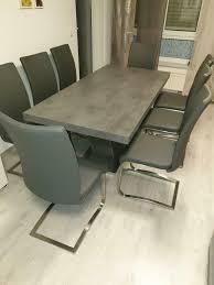 wohnzimmer esstisch betonfarbe inkl 8 stühle