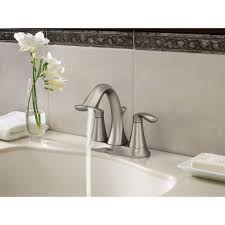 Brushed Nickel Bathroom Faucets Cleaning by Amazon Com Moen Eva Two Handle Centerset Bathroom Faucet With
