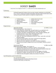 Apprentice Plumber Resume Sample