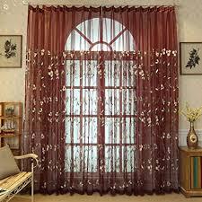 lsimeru rot vintage vorhang transparent kräuselband gardinen durchsichtig romantisch blumenmuster voile vorhänge schlafzimmer wohnzimmer dekoschal 2er