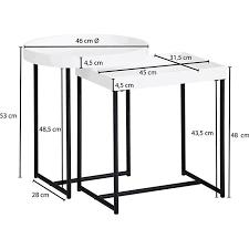 wohnling satztisch 2er set weiß holz metall beistelltische tabletttisch 2 teilig tische für wohnzimmer