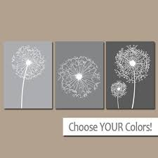DANDELION Wall Art Gray Ombre Bedroom Pictures CANVAS Or