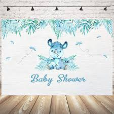 Mocsicka Cute Rhino Baby Shower Backdrop 7x5ft Watercolor Leaves Cake Table Banner Decoration Photo Backdrops Rhino Party Baby Boy Or Girl Photography