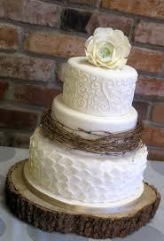 Beach Formal Romantic Rustic Shabby Chic Vintage Brown Ivory Ballroom Fall Flowers Fondant Round Wedding Cake