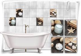 fliesenaufkleber fliesenbild muscheln kerze creme holz wellness spa aufkleber deko wc bad