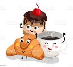 lustige croissant kuchen und kaffeeobertasse charakter stock vektor und mehr bilder auge