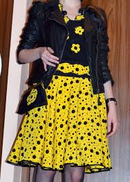 i believe i can sew yellow and black polka dots circle skirt