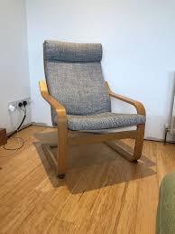 ikea oak poäng chair with isunda grey cushion very good