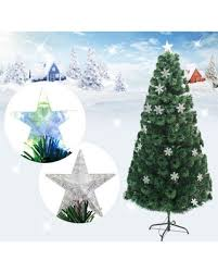 New Snowflakes Decorative Indoor Outdoor LED Color Changing Artificial Fiber Optic Lights Tall Christmas Tree