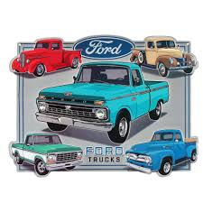 100 Vintage Trucks Ford Embossed Metal Decorative Sign90153576S The