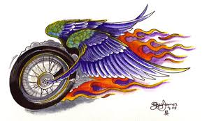 Bike With Wings Tattoo
