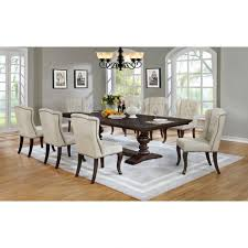 Best Quality 9PC Cappuccino Dining Table Set Nail Head Fabric Chairs
