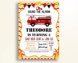 Firetruck Birthday Invitation Firetruck Birthday Party Invitation ...