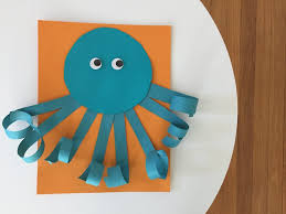 Today We Have An Easy Summer Craft For Kids This Curly Paper Octopus Can Be Simply Made With Copy Scissors Tape And Markers Or You Use The