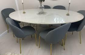6 esszimmer stühle grau samt gold rahaus wayfair chesterfield
