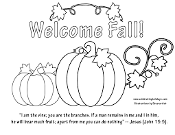 Welcome Fall Coloring Page With Bible Verse