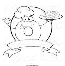 Vector Coloring Page Of A Black And White Donut Character Wearing Chef Hat Serving