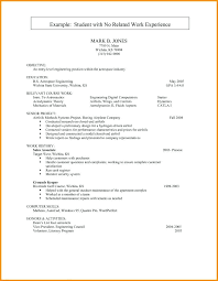Resume Templates For No Work Experience Template Examples College Students