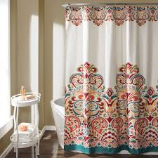 Lush Decor Window Curtains by Lush Decor Clara Shower Curtain Turquoise Tangerine